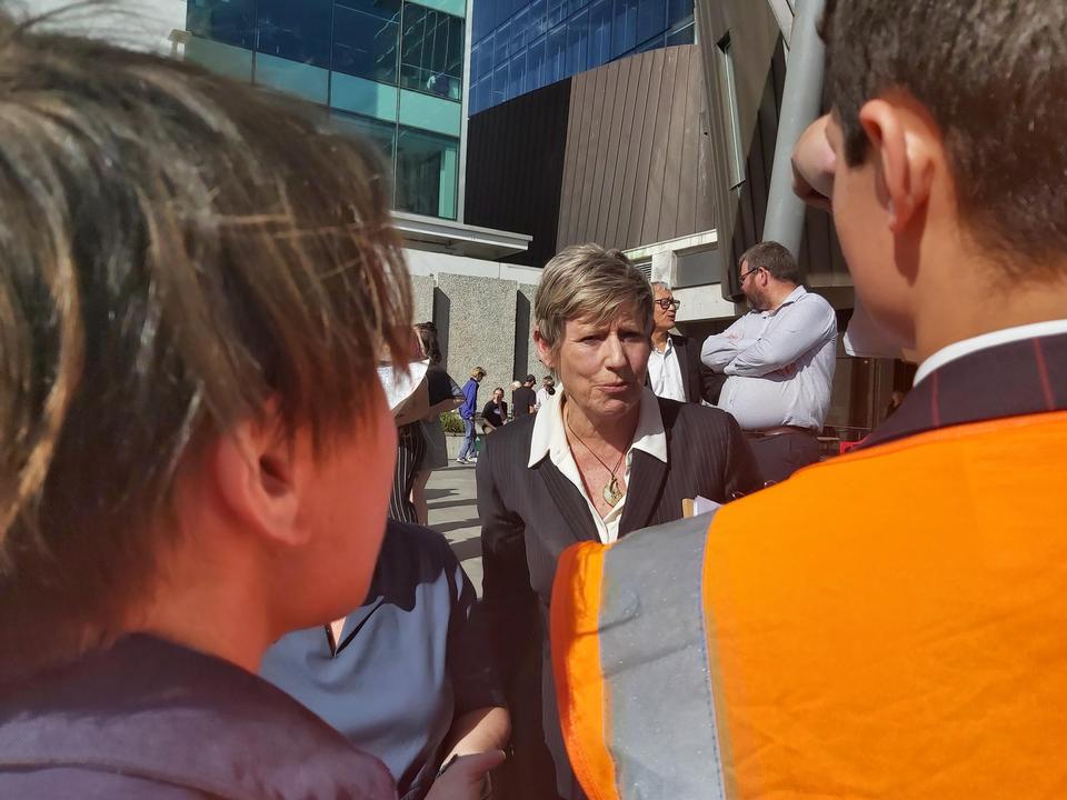 Christchurch march organisers speak face-to-face with Mayor Lianne Dalziel.  Photo: RNZ / Hugo...