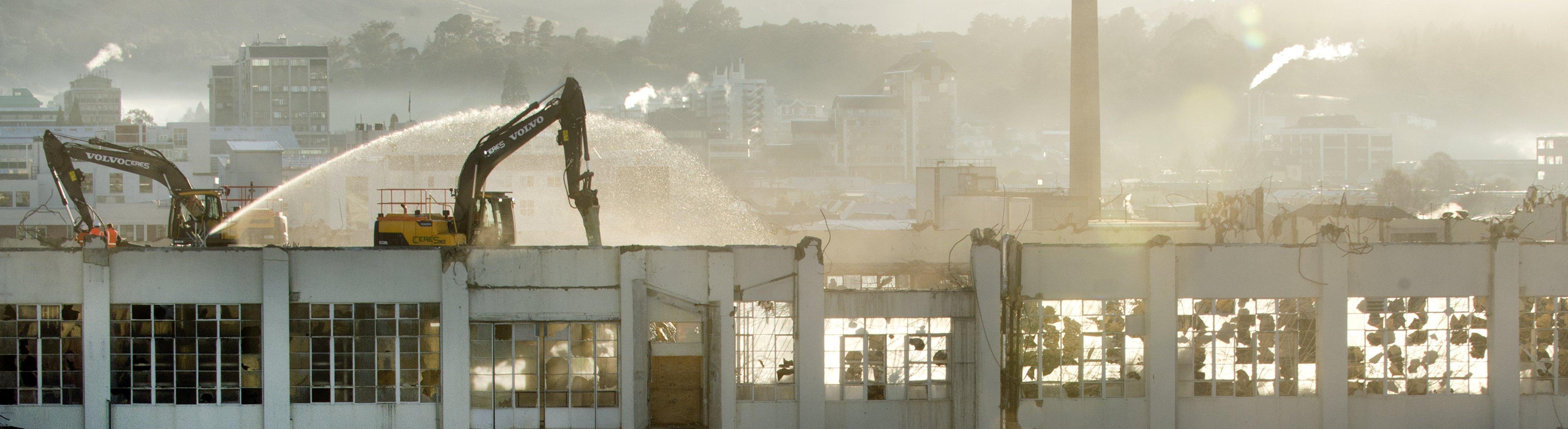Demolition on the north wall of the former Cadbury factory in Dunedin. Photo: Gerard O'Brien
