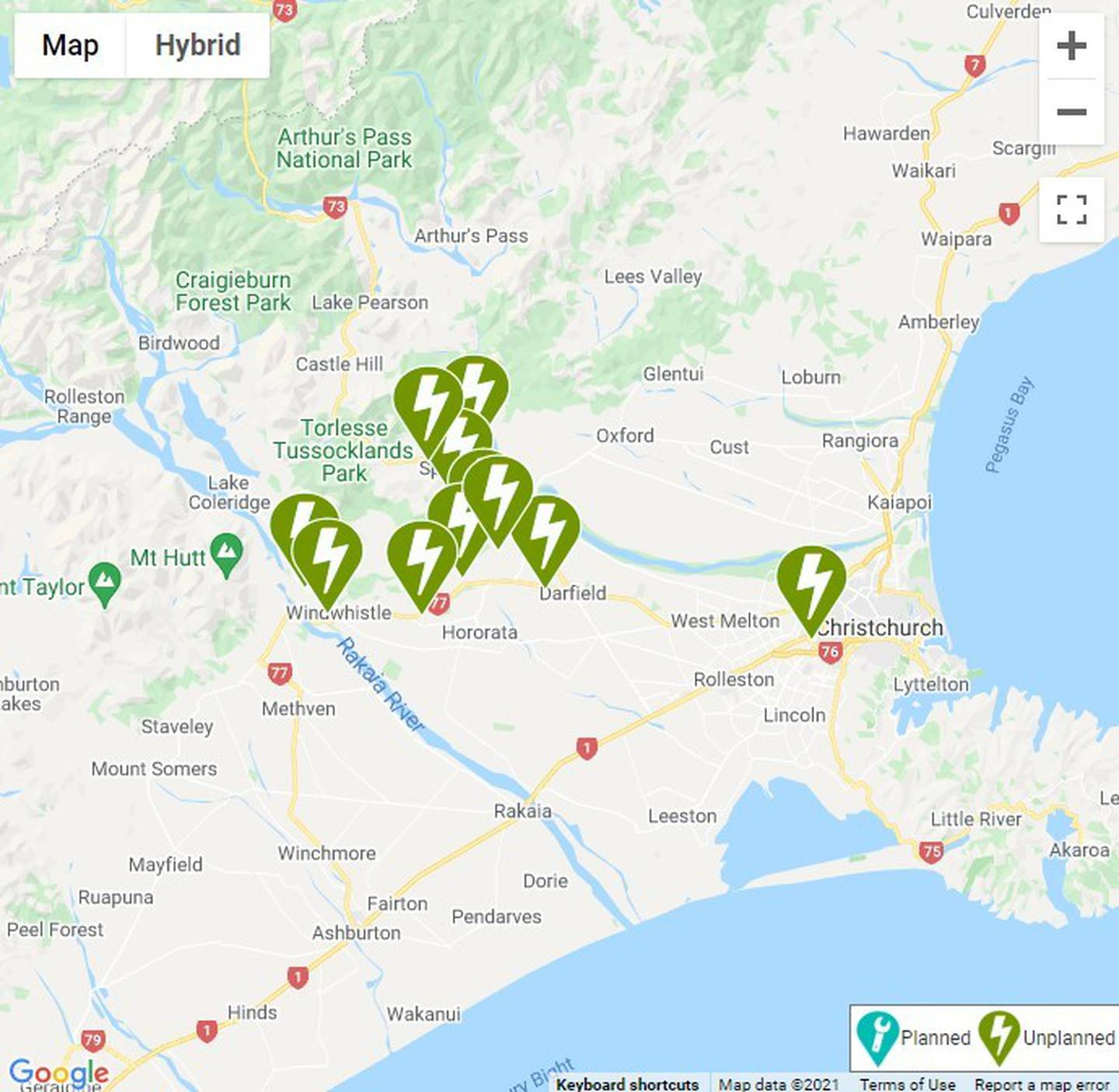 Power outages across Canterbury. Image: Orion