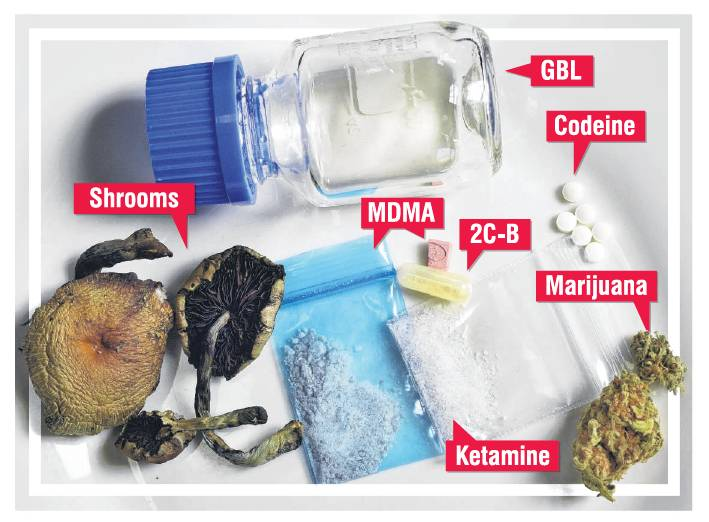 The variety of substances in a student's drug collection.