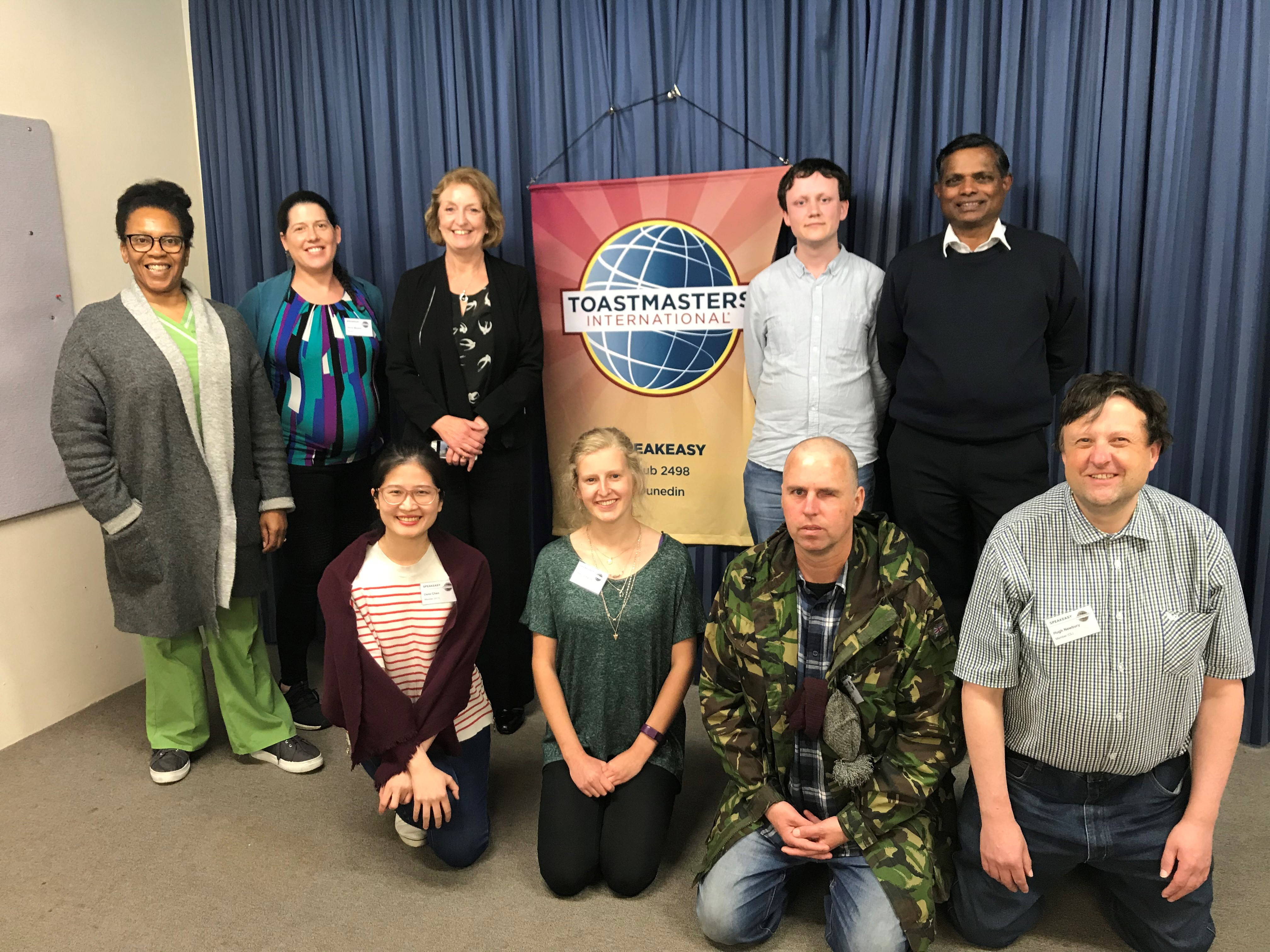 Toastmaster members at one of their weekly meetings. (Back left to right): Winsome Dacres, Olivia...