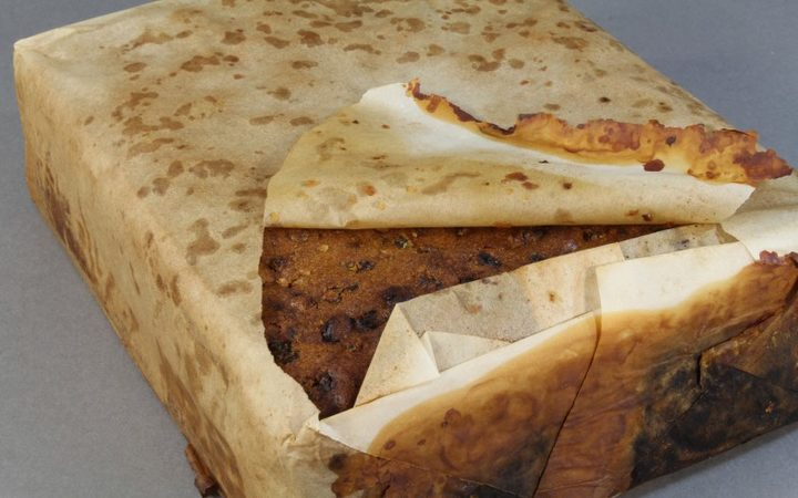 Fruit cake found at Cape Adare thought to be from Scott's Northern Party (1911). Photo: Antarctic...