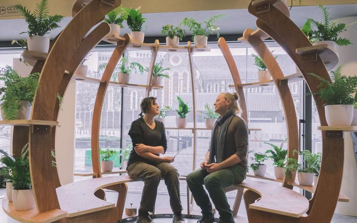 Green Lab coordinator Jane Ash with All Right? strategist Ciaran Fox. Photo: supplied via RNZ
