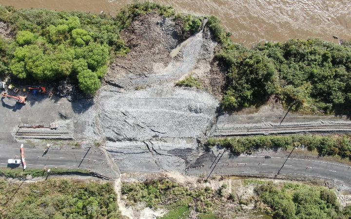 An aerial view of the landslide at Omoto on State Highway 7. Photo: NZTA