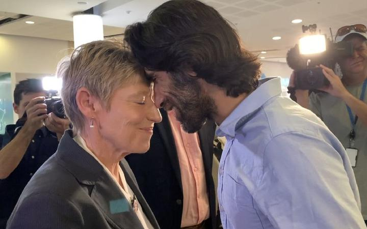 Christchurch mayor Lianne Dalziel and refugee journalist Behrouz Boochani hongi after his arrival...