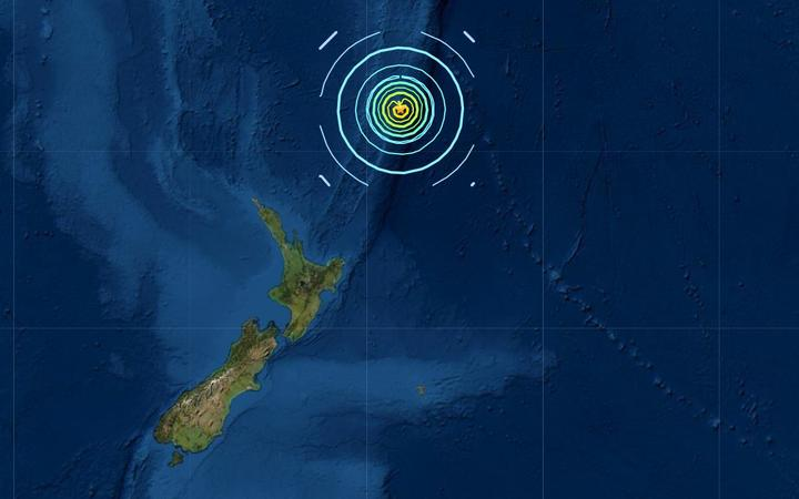 Two major quakes struck near the Kermadec Islands on Friday morning. Image: USGS