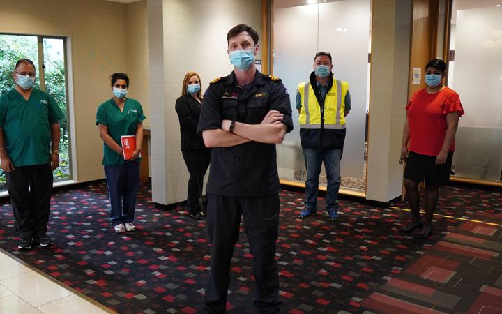 Staff at the Waipuna Hotel. Several asked for their full names to be protected: (from left)...