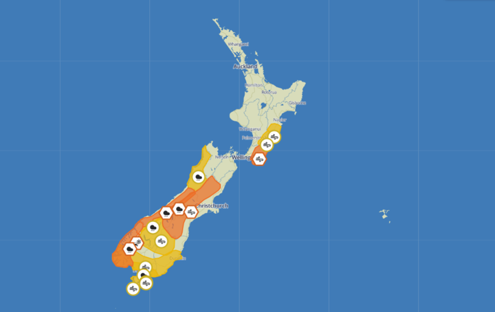 Severe weather warnings are in place around the country. Photo: MetService