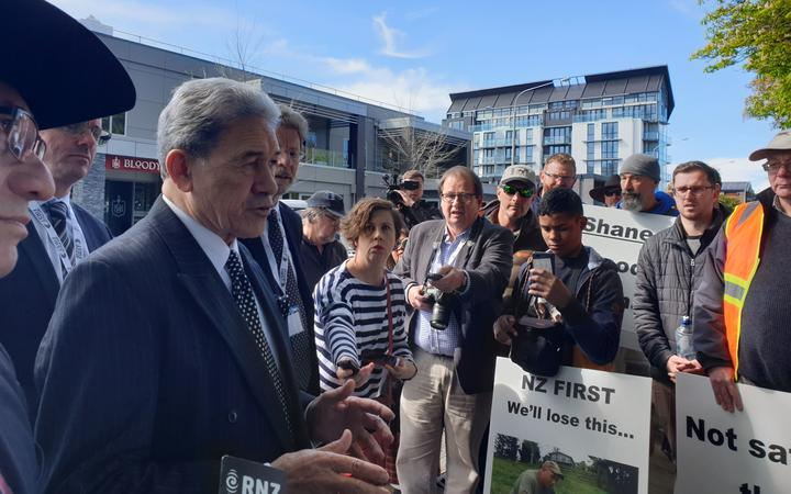 Winston Peters talked to gun owners protesting in Christchurch today. Photo: RNZ