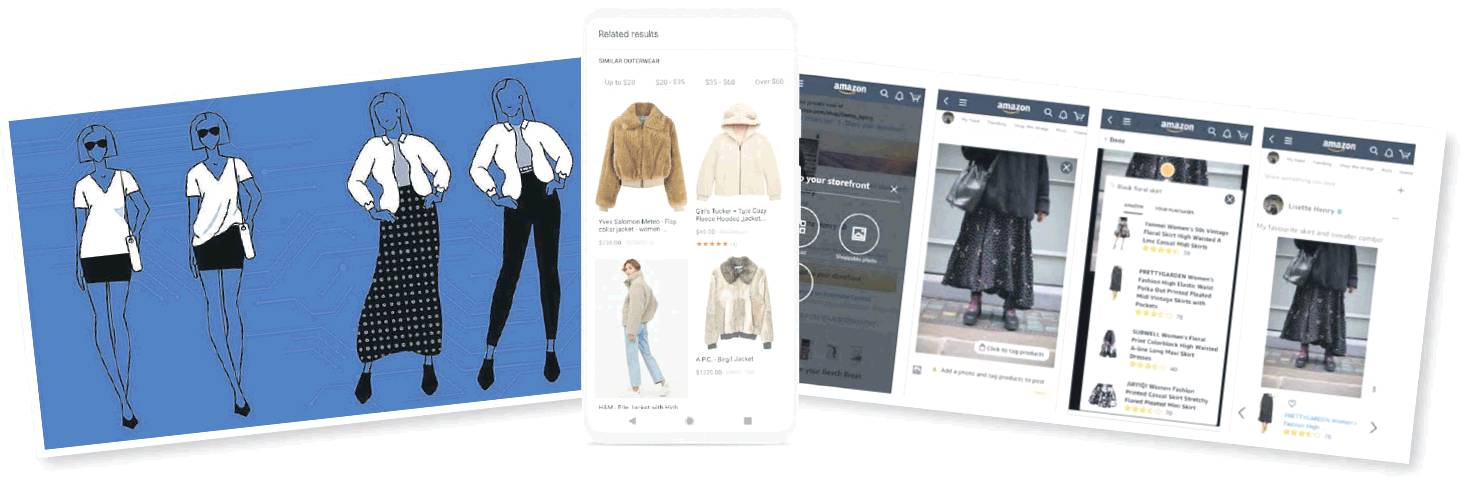 From left, Facebook's Fashion++, Google's Lens and Amazon's Style Snap.