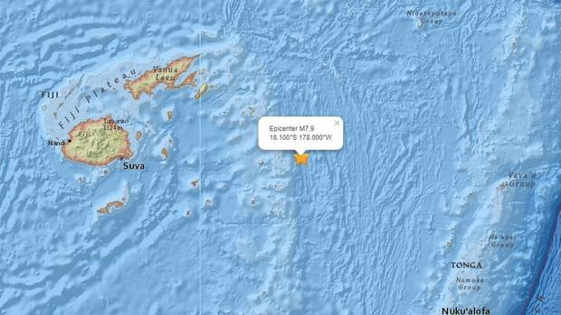 The quake hit close to the island nations of Tonga and Fiji in the Pacific Ocean. Photo: USGS