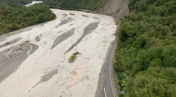 State Highway 6 between Fox Glacier and Franz Josef Glacier was washed away after bad weather....