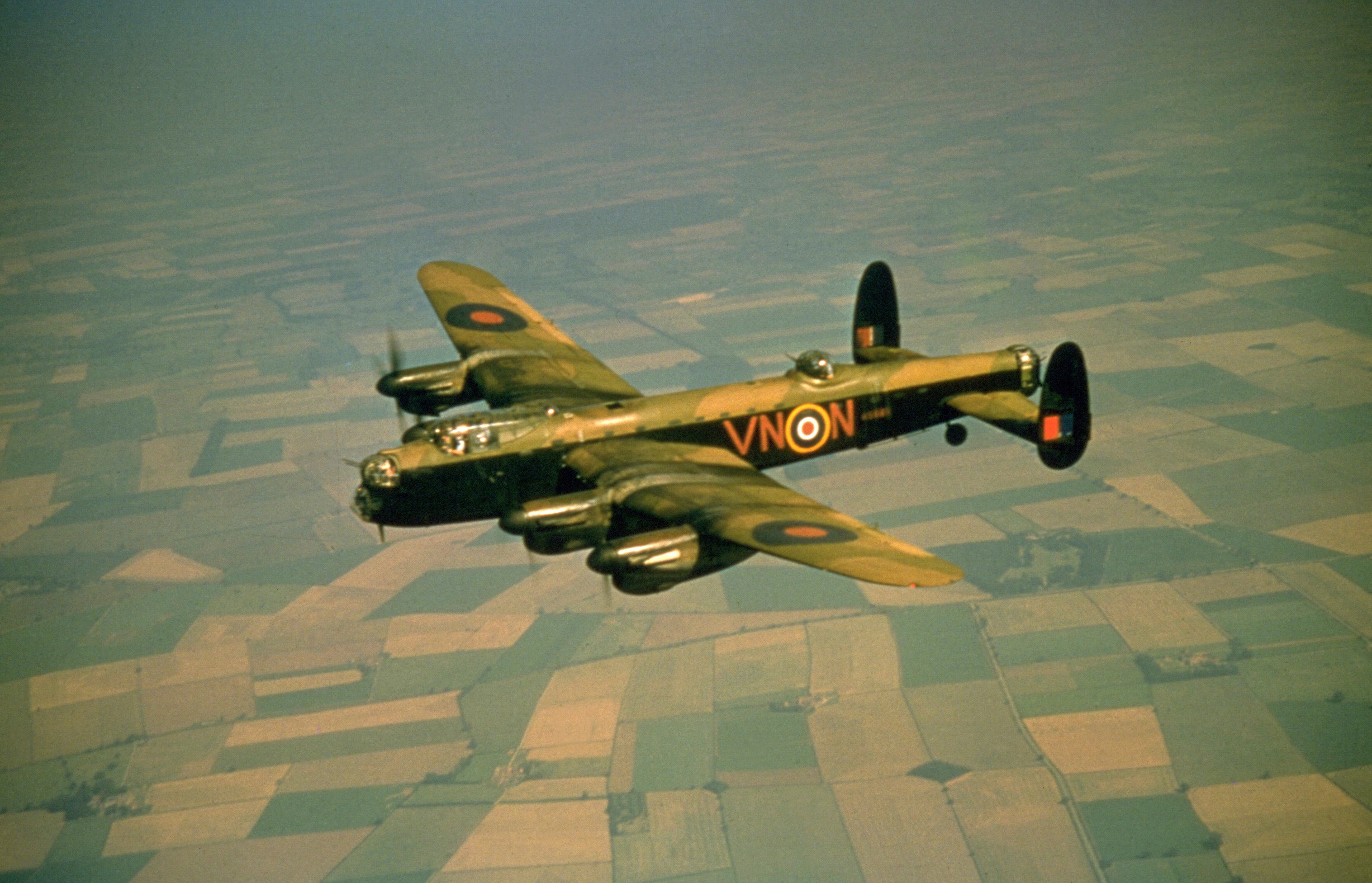 Avro Lancaster heavy bomber R5689 (VN-N), of No.50 Squadron RAF, during World War 2, in 1942. PHOTO: GETTY IMAGES