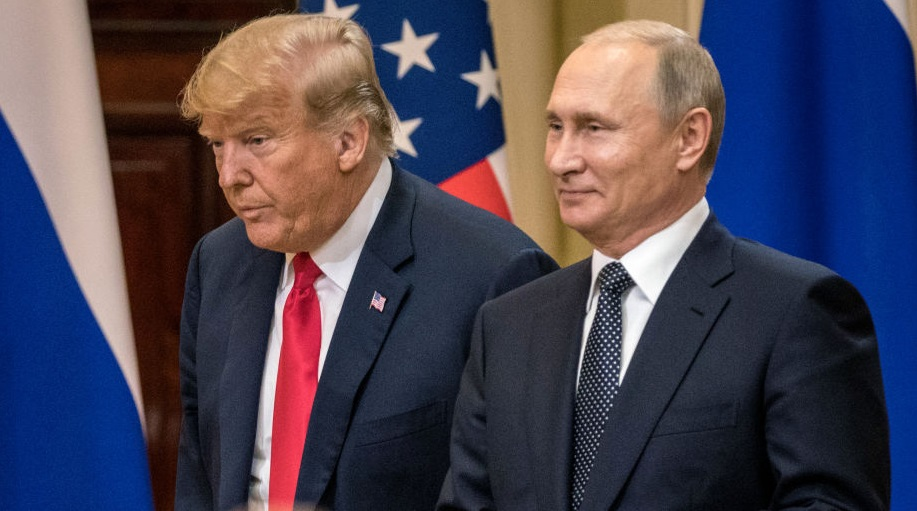 Donald Trump and Vladimir Putin at the summit in Helsinki. Photo: Getty Images