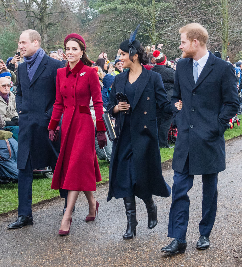 From left: Prince William and Catherine, Duchess of Cambridge, with Meghan and Harry. Photo:...