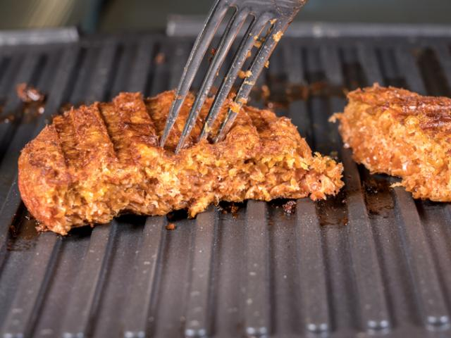 A plant-based burger patty. Stock photo: Getty