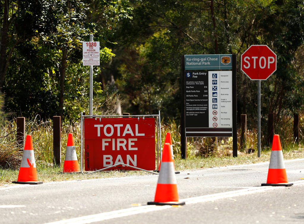 Signs display information about the closure of Ku-ring-gai Chase National Park in Sydney's north....