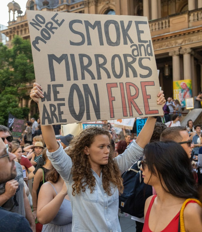Thousands of climate change protesters surrounded Sydney's Town Hall on Friday. Photo: Getty Images