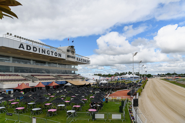 General view of Addingtion Raceway prior to New Zealand Trotting Cup Day. Photo: Kai Schwoerer...