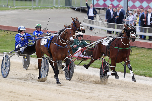 Natalie Rasmussen driving Amazing Dream (L) wins Race 4 Nevele R Fillies Series Final ahead of...