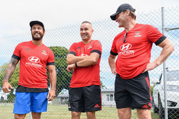 Rene Ranger, Assistant Coach Tamati Ellison and Head Coach Scott Robertson at the Crusaders...