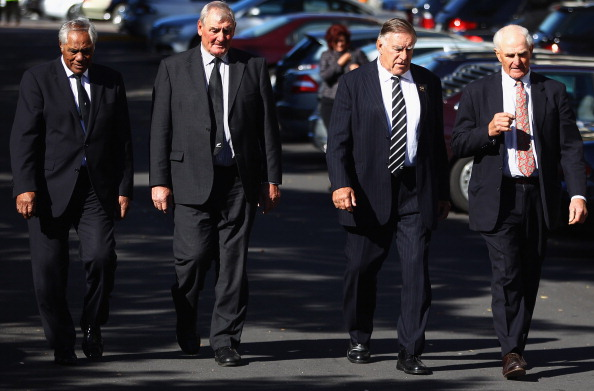 Waka Nathan, Sir Brian Lochore, Sir Colin Meads and Ian Kirkpatrick at the funeral service for...