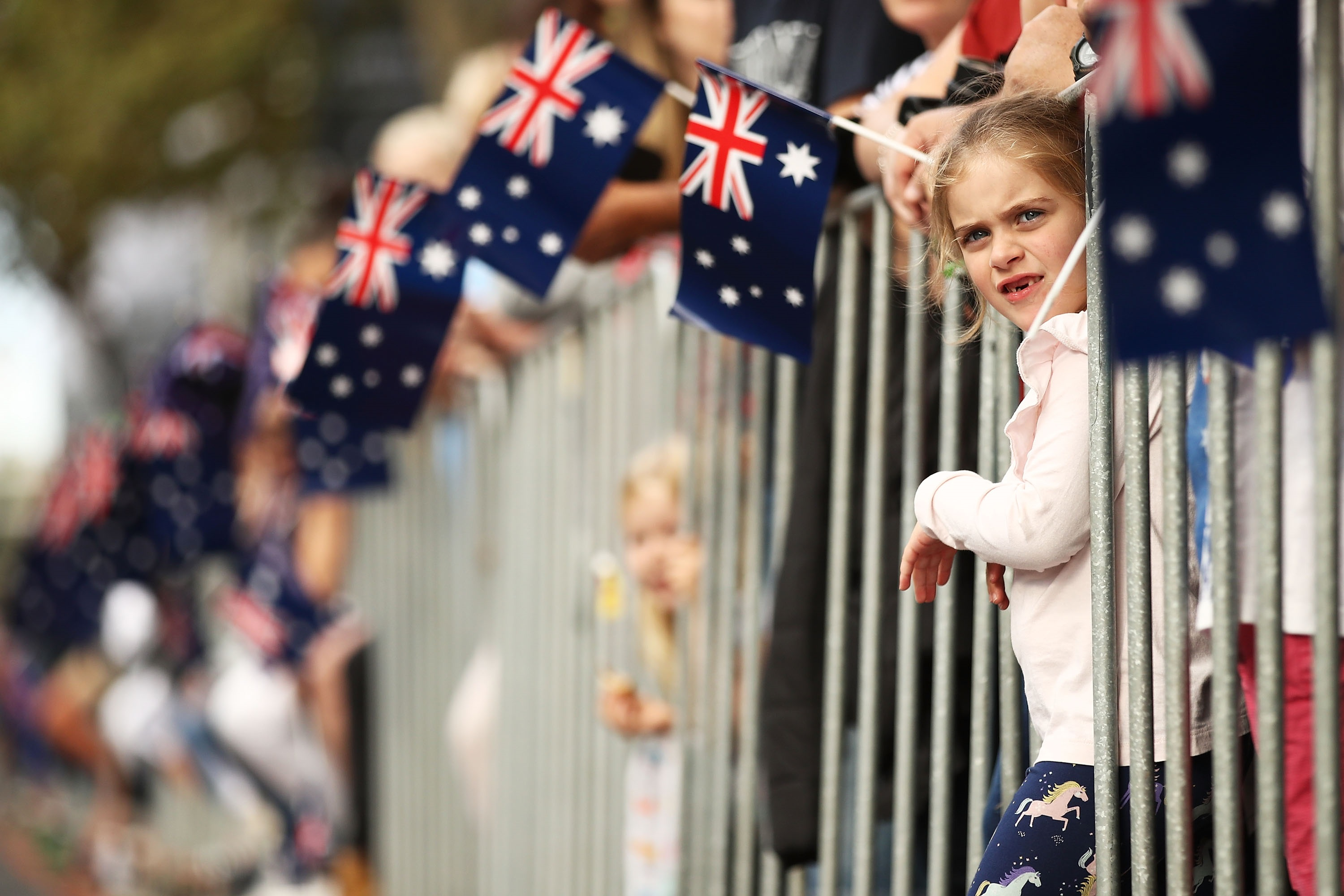 Crowds along Elizabeth St during the Anzac Day parade last year.