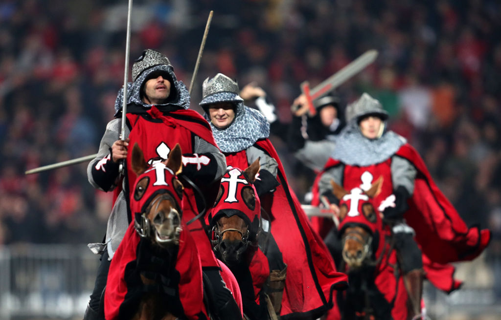 The Crusaders formerly used sword-wielding horsemen as mascots before matches. Photo: Getty