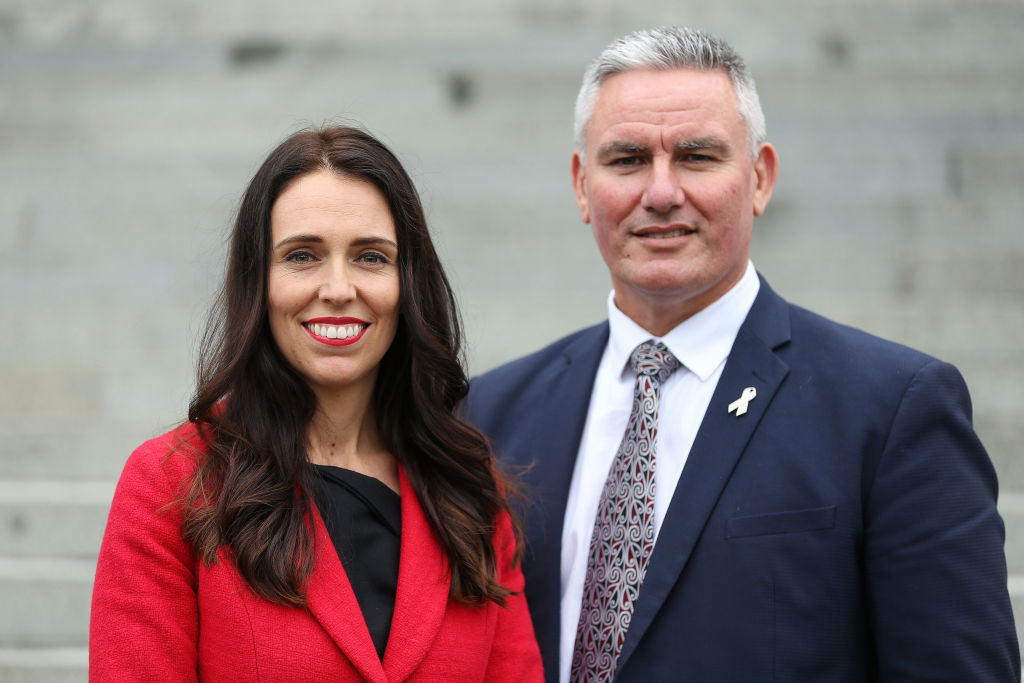 Newly appointed Labour leader Jacinda Ardern and deputy Kelvin Davis pose after a press...