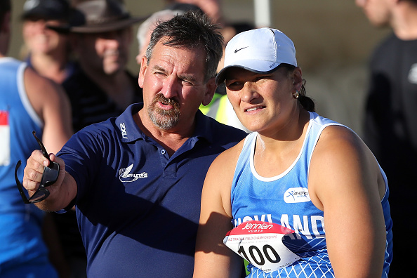 Dame Valerie Adams and coach Scott Goodman. Photo: Getty Images