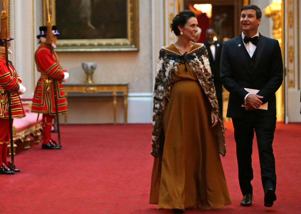 New Zealand Prime Minister Jacinda Ardern and her partner Clarke Gayford arrive for The Queen's...