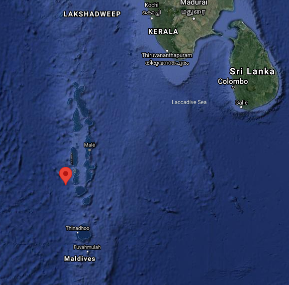 The coordinates put the point of impact in the ocean somewhere southwest of India and Sri Lanka....