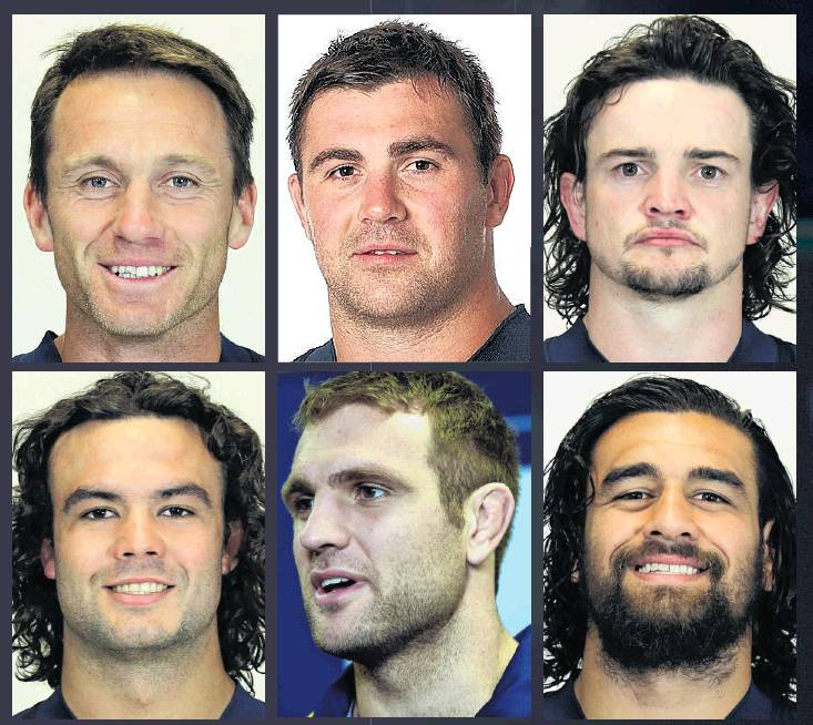 Top row from left: Ben Smith, Liam Squire and Richard Buckman. Bottom row from left: Tom Franklin...
