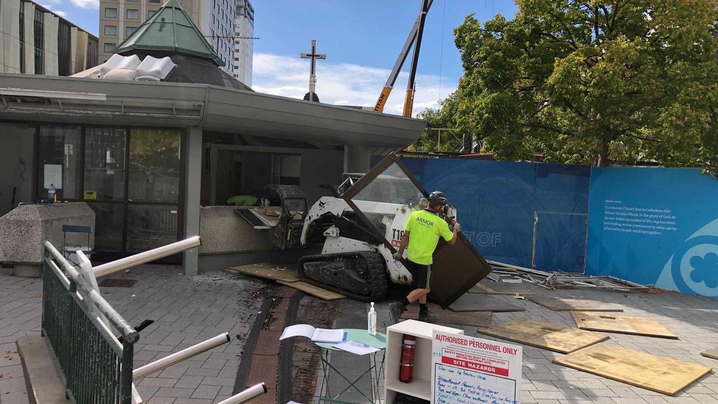 The old Christchurch police kiosk is being demolished by hand. Photo: Hamish Clark