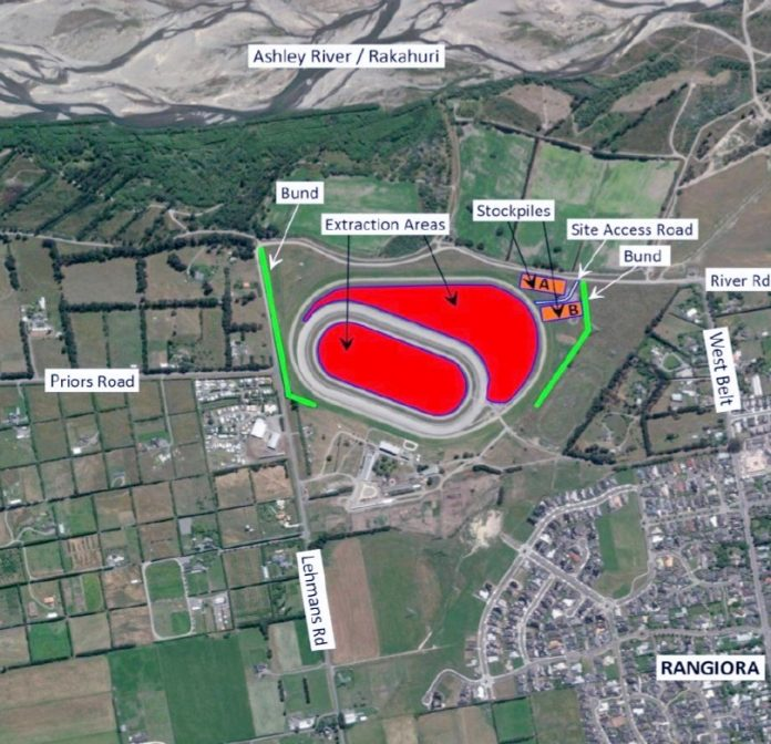 A map accompanying the application shows the area to be quarried in red. Image: Supplied