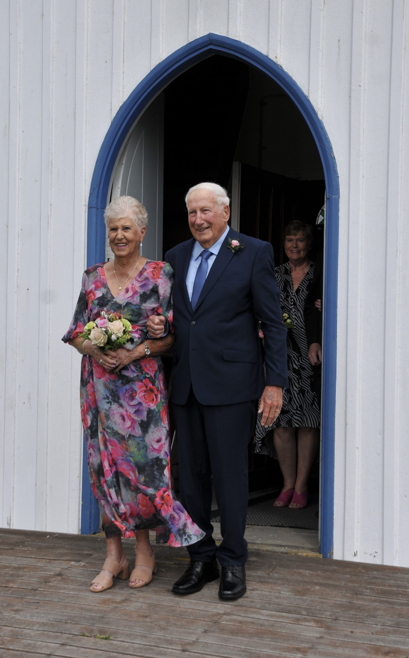 Thelma and Brian Smith step out of the historic St Stephen's Church in Tuahiwi last Saturday...