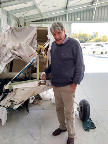 Alan Macdonald visited Rangiora Airfield to find his missing shoe. It was wedged under the rudder...