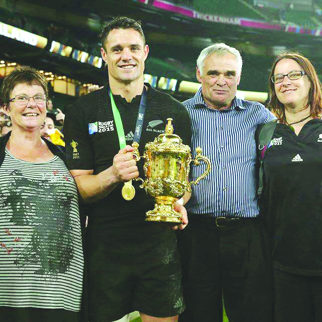 Dan Carter with his mum Bev, dad Neville and sister Sarah after the Rugby World Cup final in 2015...