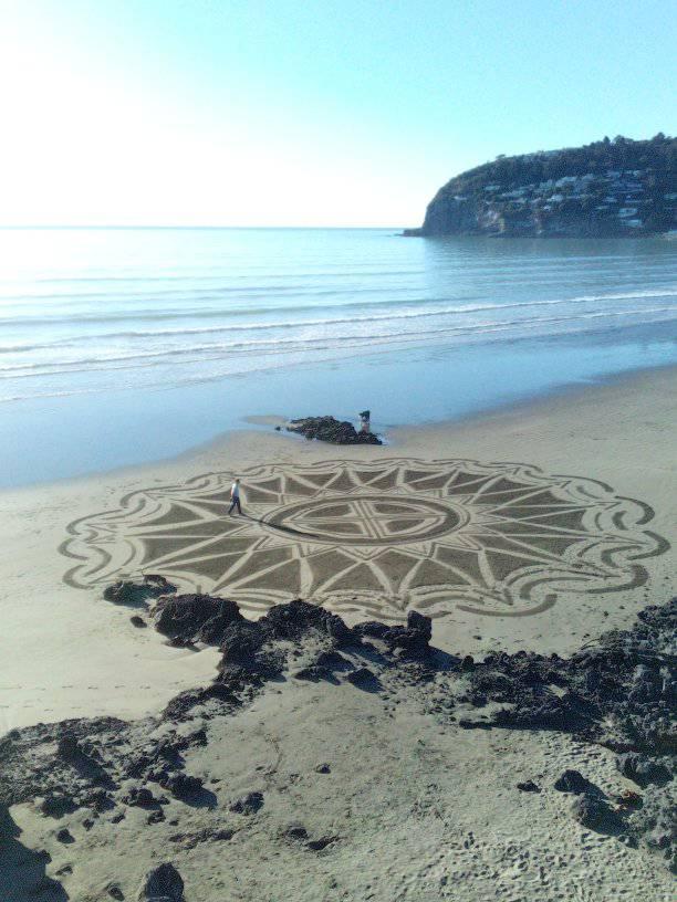 Webb's mandala creation seen on Sumner beach. Photo: Supplied