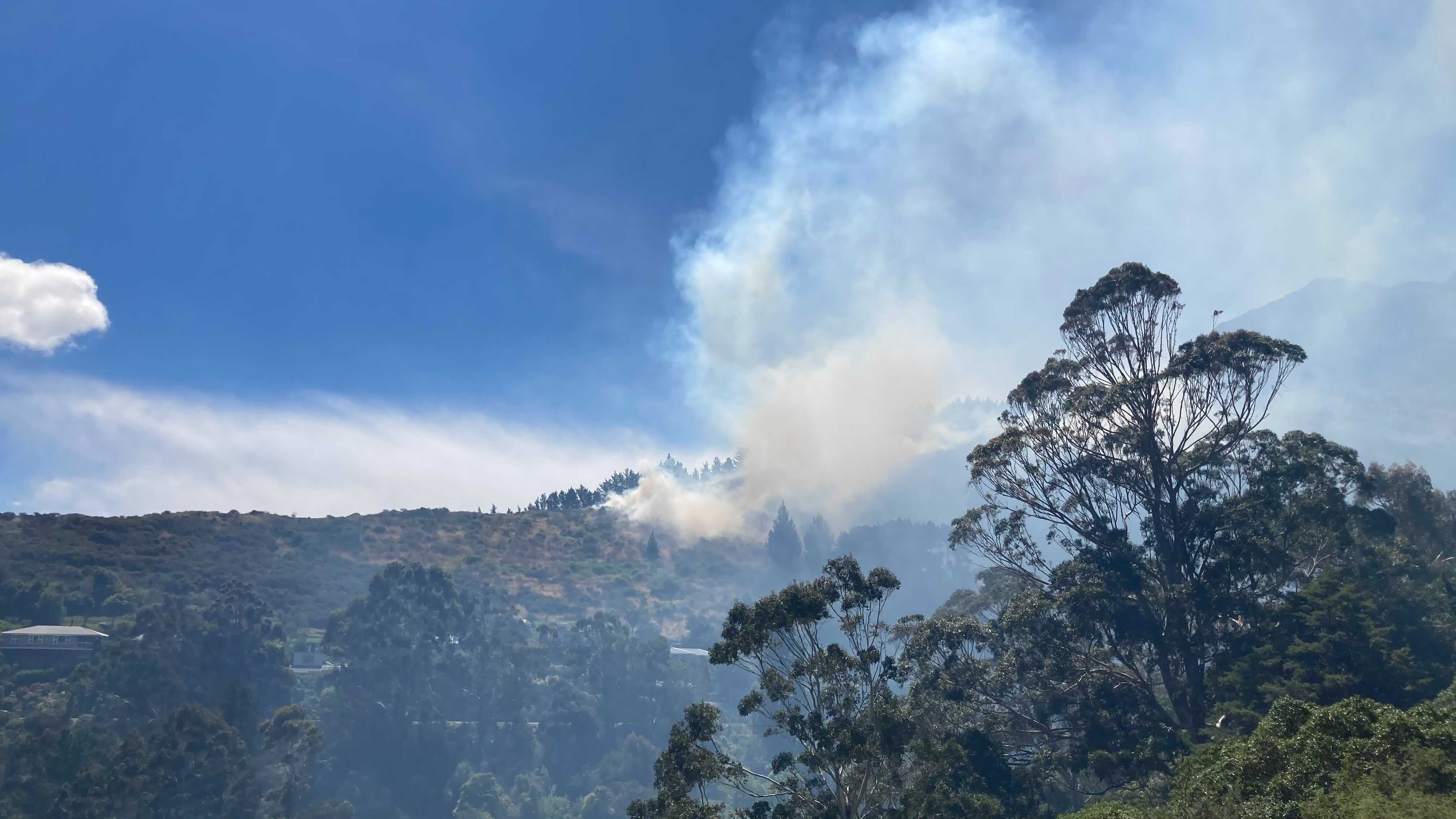 The large fire at Cass Bay. Photo: Geoff Sloan