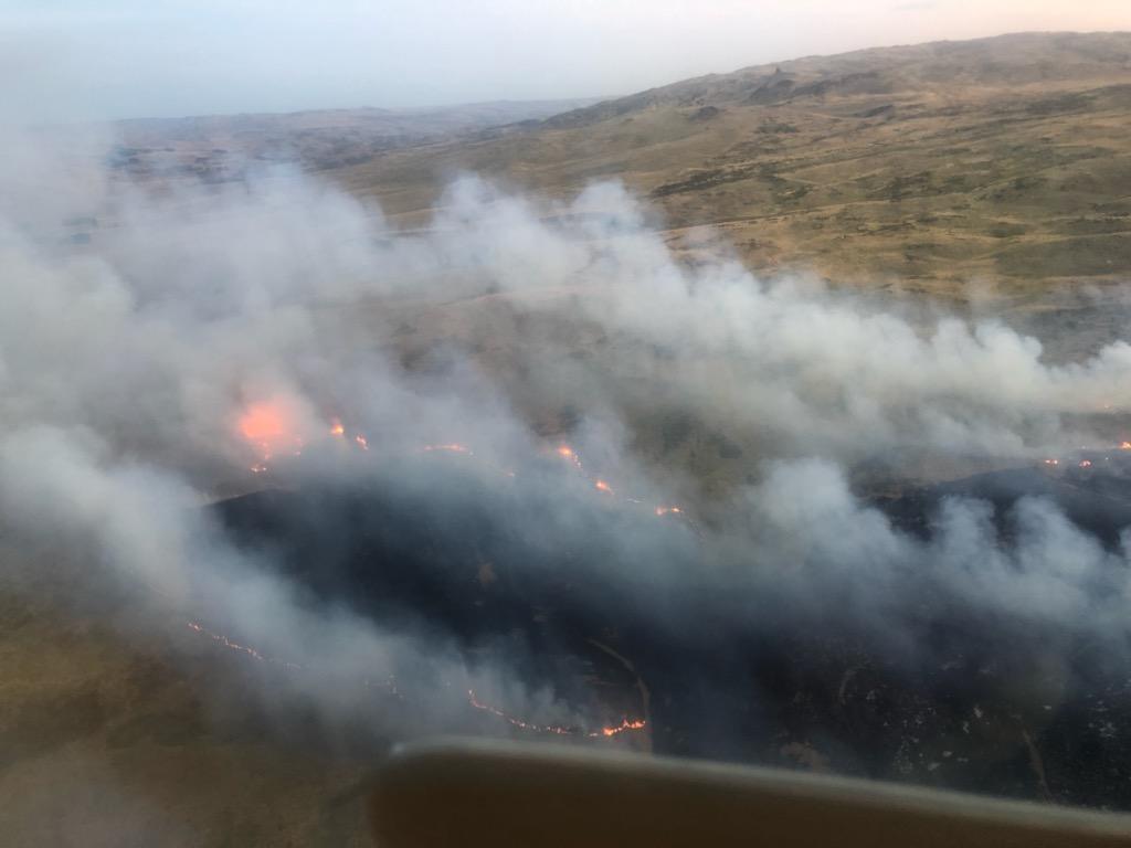 A hillside ablaze during the Kokonga fire. Photo: Supplied