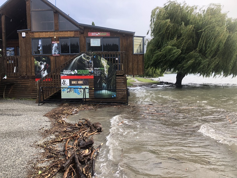 Water laps at the log cabin by Lake Wanaka this afternoon. Photo: Kerrie Waterworth