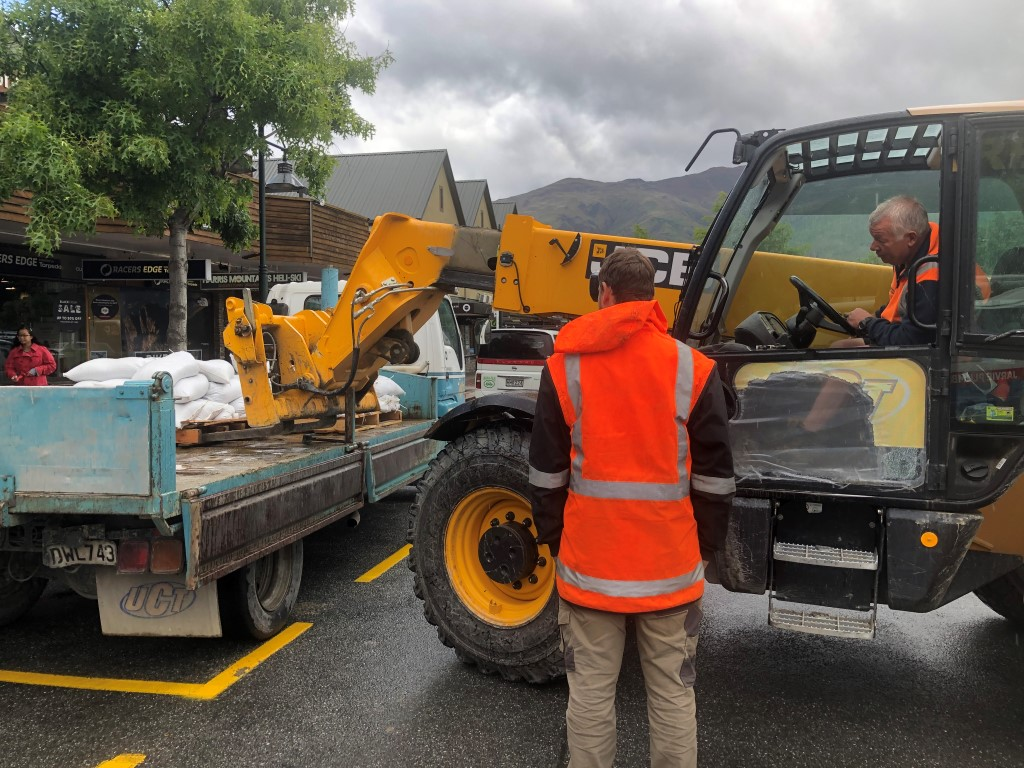 Sandbags being made ready in Wanaka this afternoon. Photo: Kerrie Waterworth