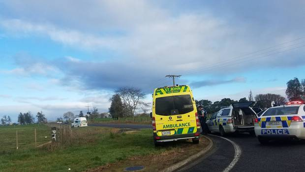 Police have blocked off a road in rural Waikato near Gordonton. Photo: Number 8 Network via NZ...