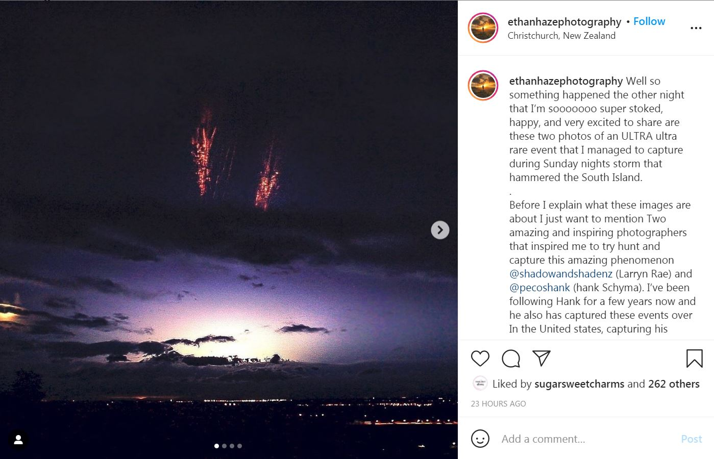 A Christchurch photographer has become the third person in the country to capture a rare weather...