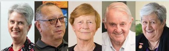New Zealand has five new knights and dames, from left, Jane Harding, Derek Lardelli, Karen...