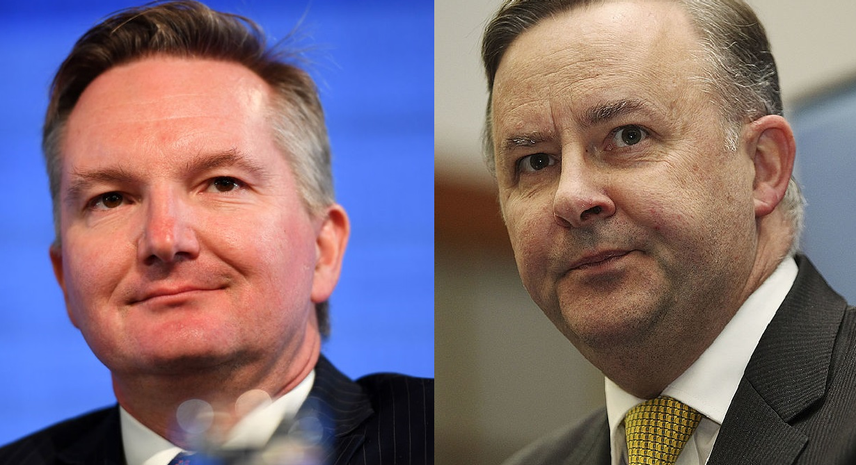 Chris Bowen (left) and Anthony Albanese. Photo: Getty Images