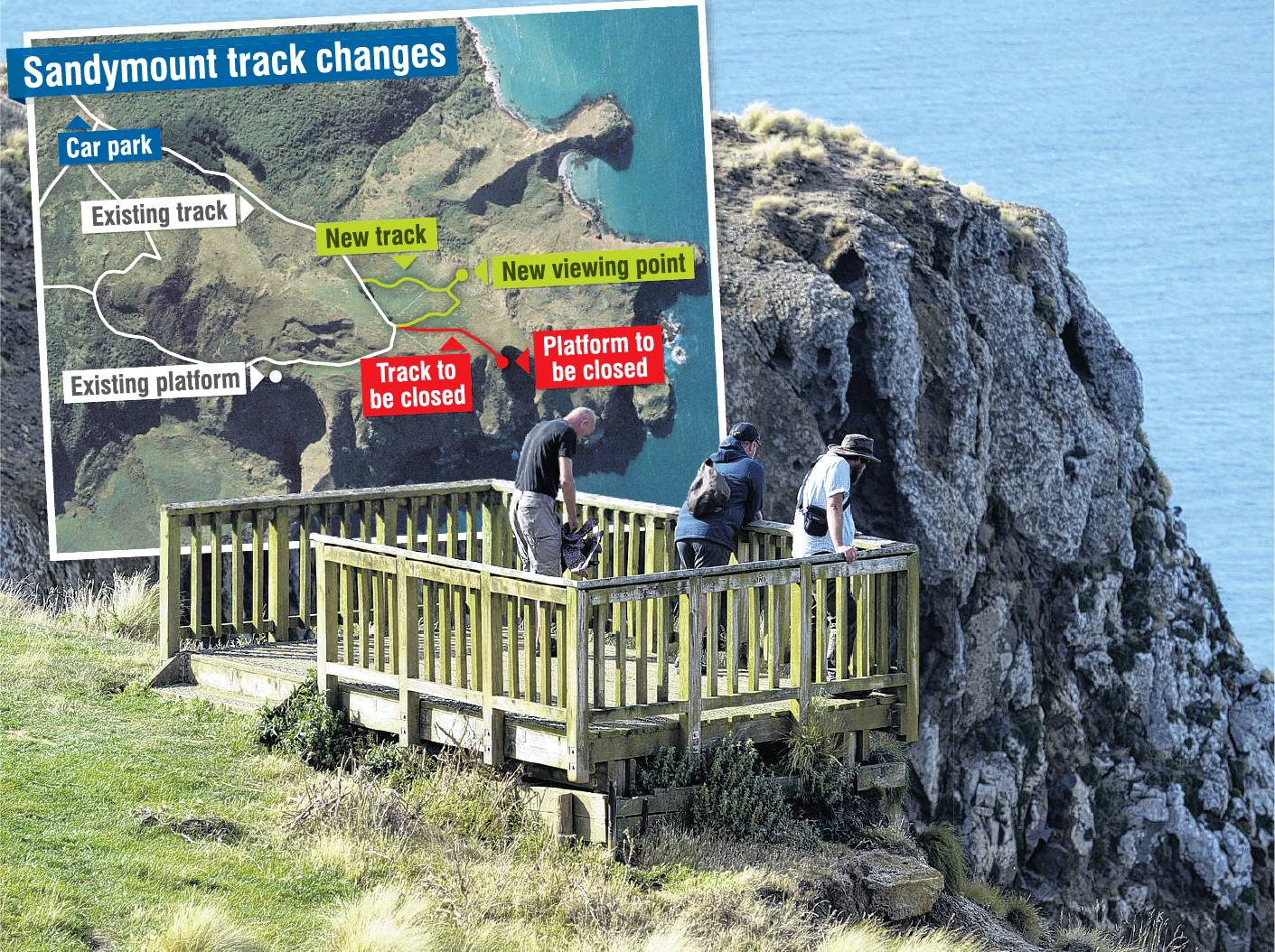 The viewing platforms overlooking Lover's Leap (pictured) and the Chasm, at Sandymount on Otago...