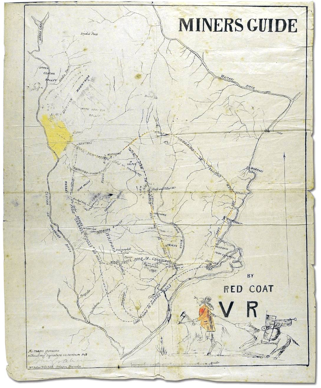 The Way to the Gold! Red Coat's map of 1862.