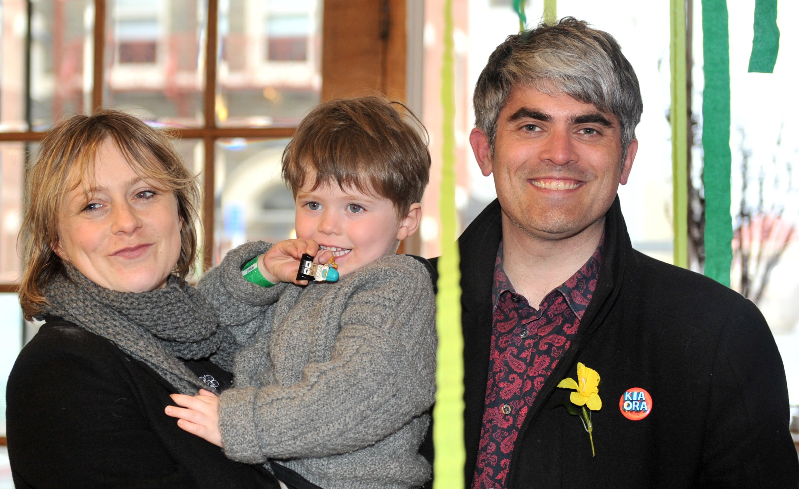 The new mayor celebrates with his wife Anya Sinclair and son Emile Hawkins (3). PHOTO: CHRISTINE...